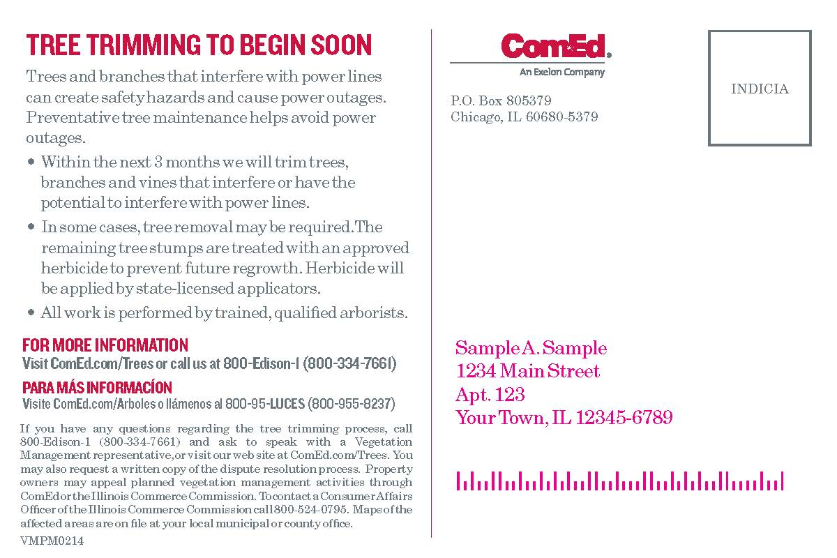 ComEd Tree Trimming Notice Postcard