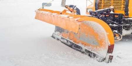 snow plow on street