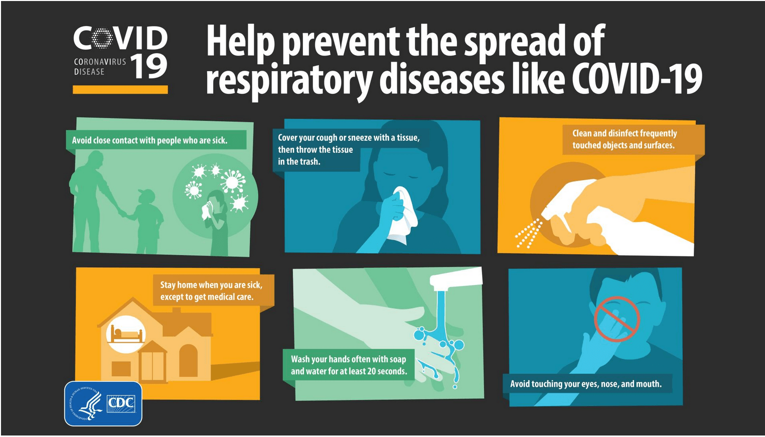 Help prevent the spread of respiratory diseases like COVID-19 graphic