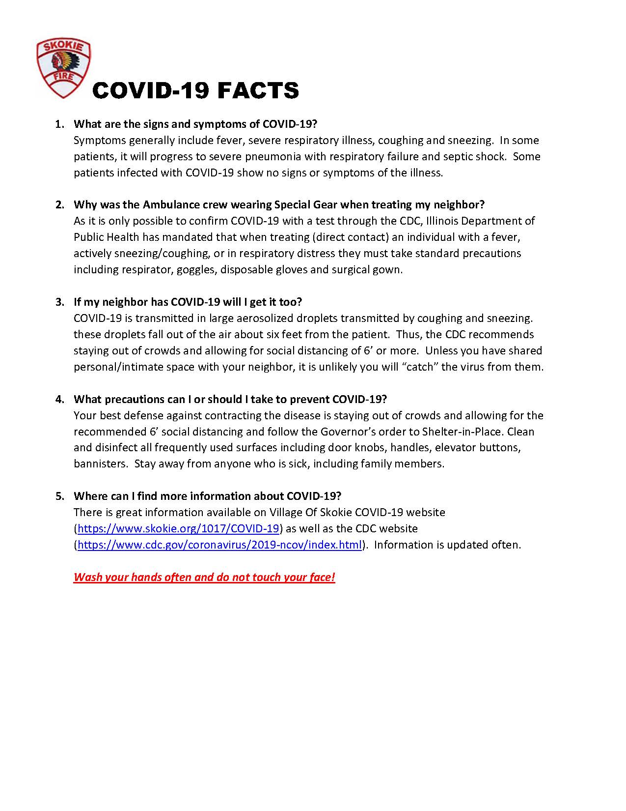 COVID-19 Fact Sheet Skokie Fire Department (JPG)