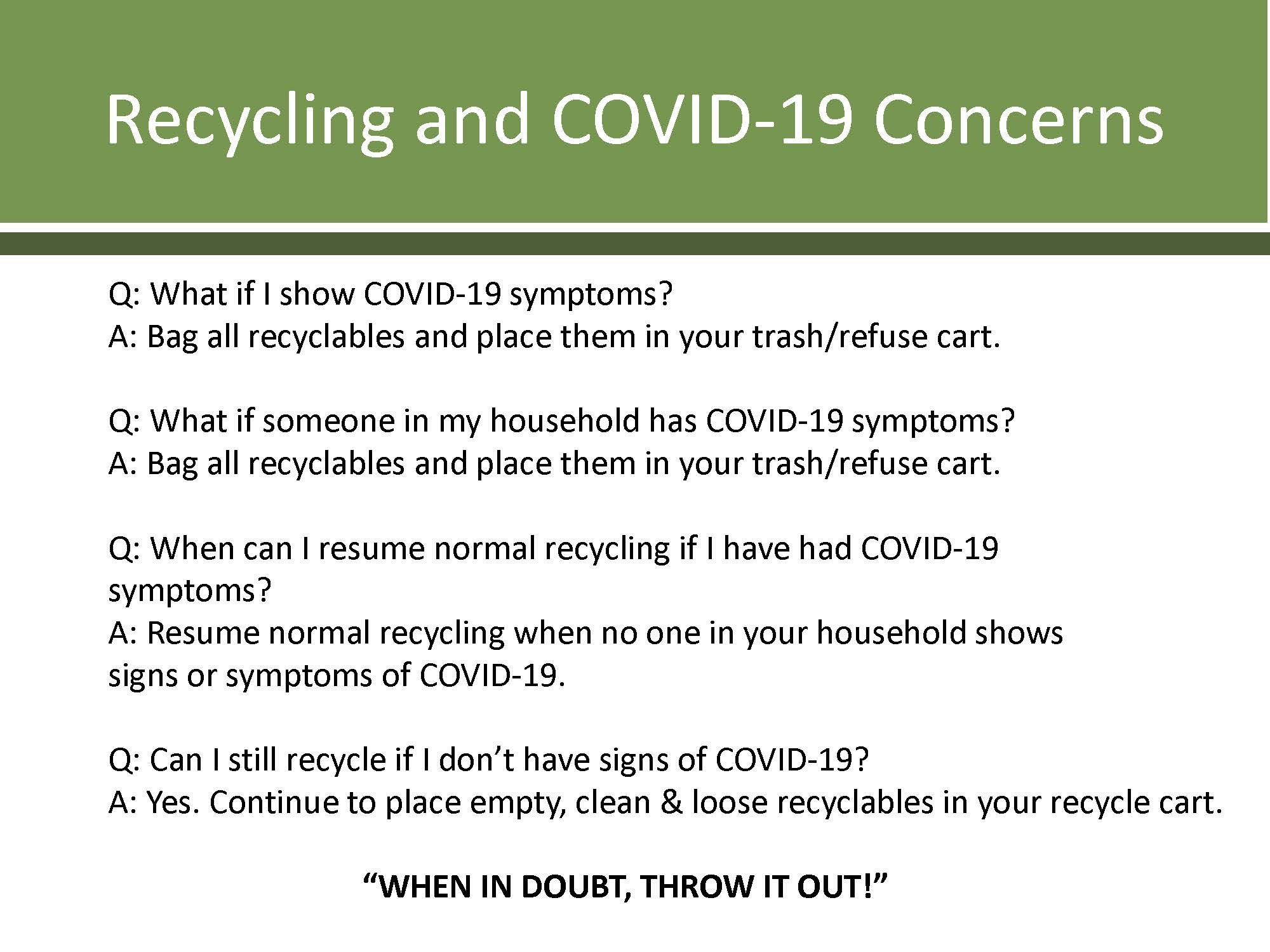 SWANCC COVID-19 Refuse and Recycling Guidelines - Page 1 (JPG)